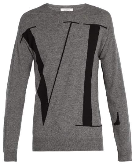 Valentino Vltn Wool And Cashmere Blend Sweater - Mens - Grey