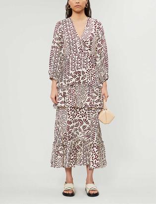Alexis Tereasa graphic-print linen midi dress