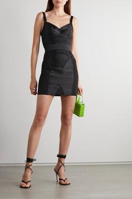 Dolce & Gabbana - Paneled Stretch-satin And Lace Mini Dress - Black