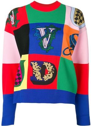 Versace Logo Patchwork Jumper