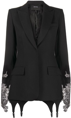 Vera Wang Lace-Trim Single Breasted Blazer
