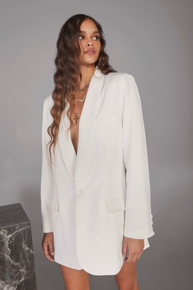 Nasty Gal Womens Strong Enough Oversized Blazer - White - 14