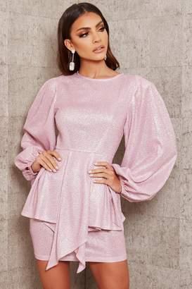 I SAW IT FIRST Pink Glitter Balloon Sleeve Peplum Detail Dress