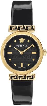 Versace Greca Detailed Leather Strap Watch, 34mm