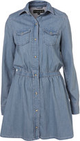 Petite Elastic Denim Shirt Dress