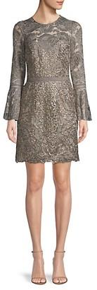 Tadashi Shoji Bell-Sleeve Lace Mini Dress