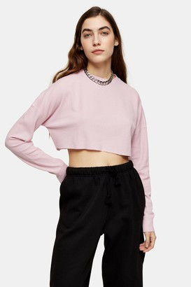 Topshop Womens Pink Waffle Henley Long Sleeve Top - Pink