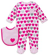 Offspring Infant Girls' Heart Print Footie & Bib Set - Sizes Newborn-9 Months
