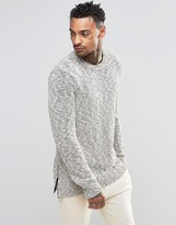 Asos Knitted Sweater With Zip Hem Detail