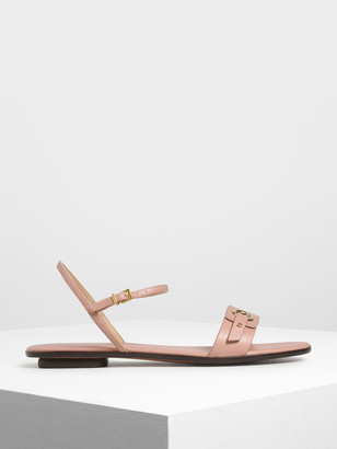 Charles & Keith Eyelet Detail Ankle Strap Flats