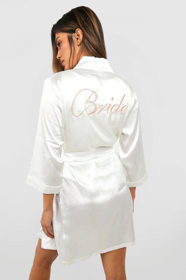 boohoo Bride Satin Robe