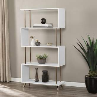 Everly Quinn Doolittle Asymmetrical Geometric Bookcase Quinn