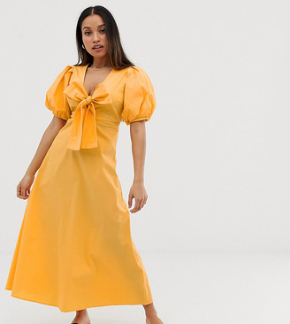 Y.A.S Cotton Volume Sleeve Tie Front Midi Dress
