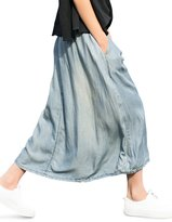 You.U 2017 NEW Women Denim Long Skirt 100% Lyocell/Tencle, Pull-on Mid-Rise Banded Waist, Front Pleating and Narrow Bottom, Side On-seam Pockets