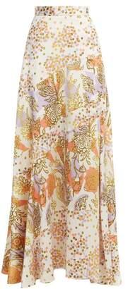 Peter Pilotto Floral Print Silk Maxi Skirt - Womens - Orange White