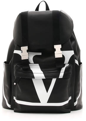 Valentino Men's VL Logo-Front Leather Backpack