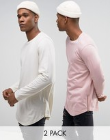 Asos Longline Long Sleeve T-Shirt With Curve Hem And Zip 2 Pack