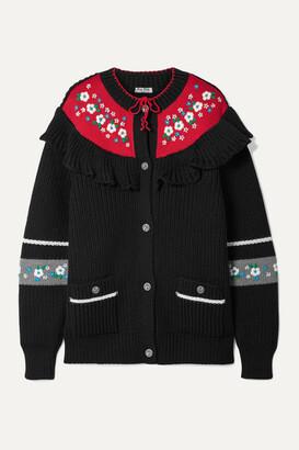 Miu Miu Ruffled Embroidered Wool Cardigan - Black