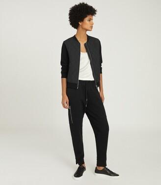 Reiss Ayla - Hybrid Zip Through Quilted Jumper in Black