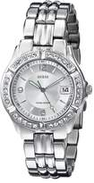 GUESS GUESS? Women's G75511M Mid-Size Sporty Chic Crystal-Accented Silver-Tone Watch