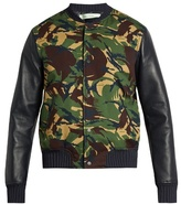 Off-White Camouflage-print cotton and leather bomber jacket