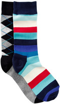 Happy Socks Stripes & Argyle Crew Socks - Pack of 2