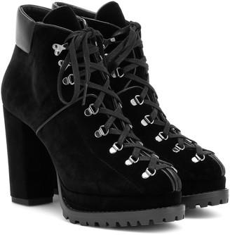 Alaia Velvet plateau ankle boots