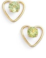 Girl's Kardee Jewelry Peridot Heart Earrings