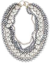 Kenneth Jay Lane Seven-Row Simulated Pearl Necklace, Gray