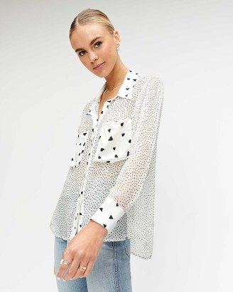 7 For All Mankind Patch Pocket Blouse in White and Black