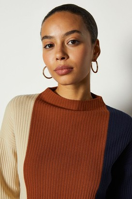 Karen Millen Colour Block Stripe Long Line Jumper