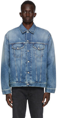 Acne Studios Blue Denim Oversized Distressed Jacket