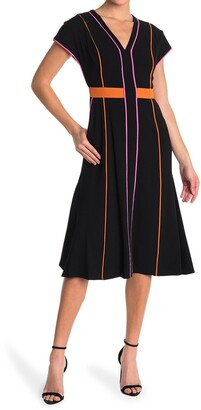 Diane von Furstenberg Davina Striped Cap Sleeve Midi Dress