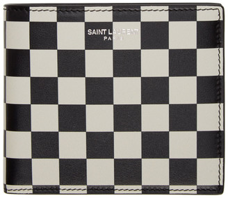 Saint Laurent Black and Off-White Checkered East/West Wallet