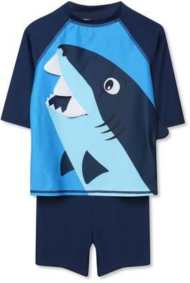 M&Co Shark rash top and shorts set (9mths-5yrs)