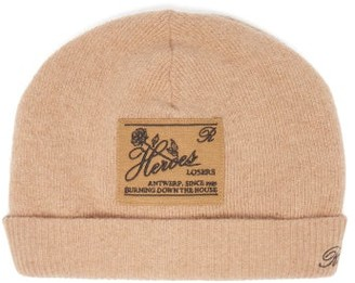 Raf Simons Heroes-embroidered Wool-blend Beanie Hat - Camel