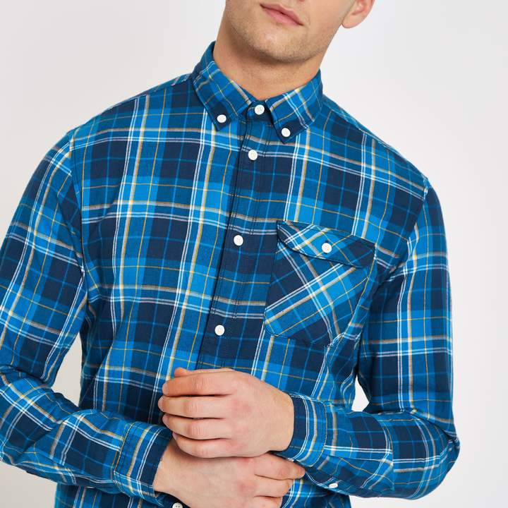 River Island Mens Jack & Jones Blue check shirt