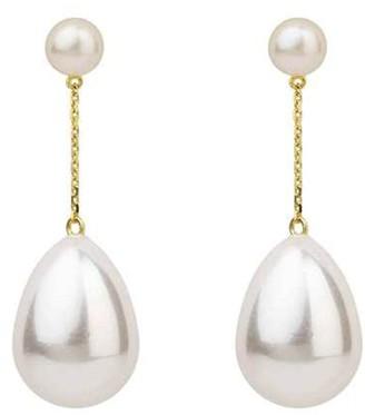 Eshvi Mini Double Pearl Drop Yellow Gold Earrings