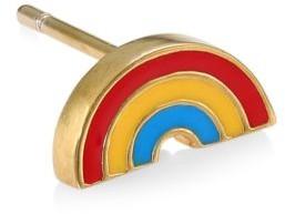 Judith Leiber 14K Goldplated Sterling Silver & Enamel Rainbow Single Stud Earring