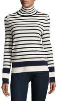 Mo & Co Striped Wool Turtleneck Sweater