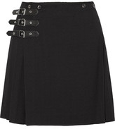 McQ by Alexander McQueen Wrap-Effect Pleated Wool-Blend Mini Skirt