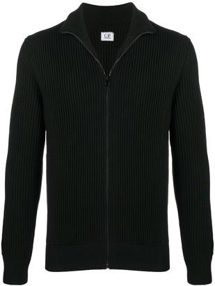 C.P. Company Zipped Rib-Knit Cardigan