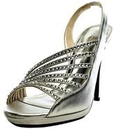 Caparros Addison Women Peep-toe Canvas Silver Heels.