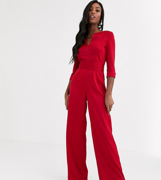 Paper Dolls Tall satin plunge jumpsuit in ruby red