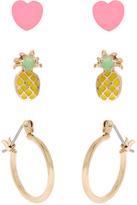 Accessorize 3x Pineapple Heart & Hoop Earring Pack