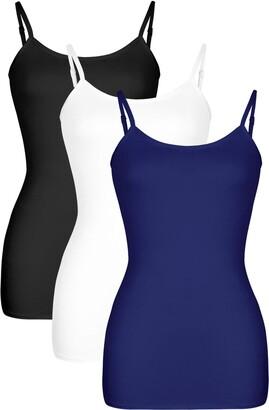 DYLH Full Slip for Under Dress Long Spaghetti Camisole Ladies Sleep Nightie Chemise Black White Grey Nightdress Woman Lingerie Sleepwear Nightgown Cotton