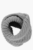 boohoo Mens Ribbed Knitted Snood in Grey size One Size