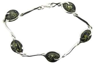 Nova Silver India Amber, Green Amber Set Silver Bracelet with Oval Links of 19.6cm