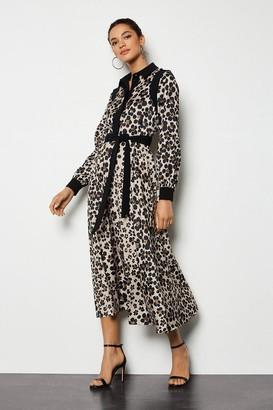 Karen Millen Leopard Daisy Print Shirt Dress