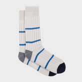 Paul Smith Men's White Chunky Ribbed Thin Stripe Socks